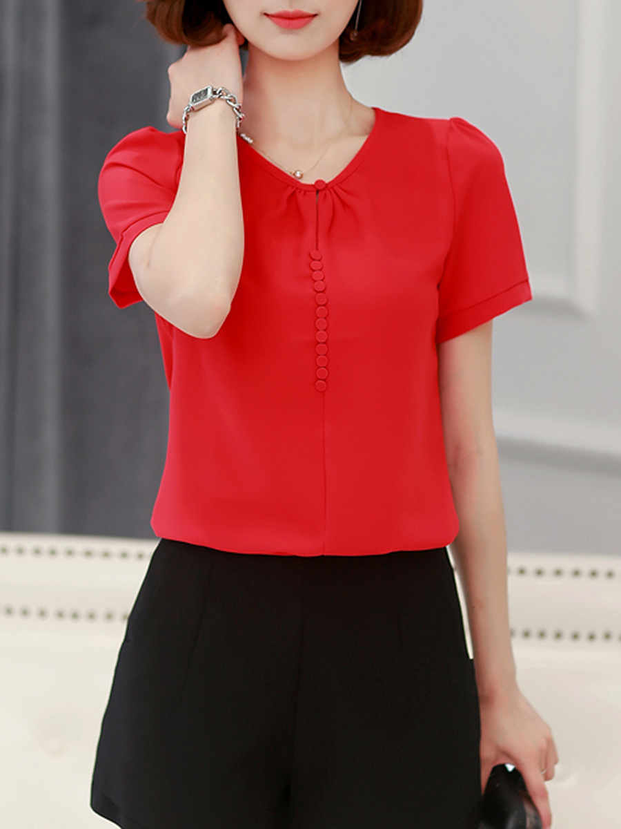 Round Neck  Decorative Button  Plain Short Sleeve T-Shirt
