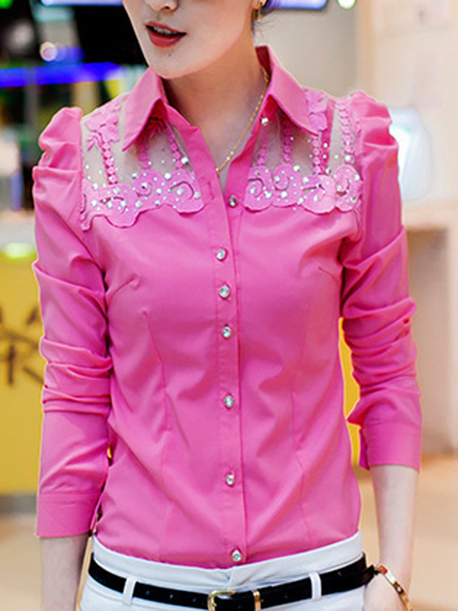See-Through Plain Rhinestone Blouse