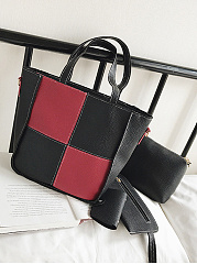 Four Pieces Plaid Color Block Shoulder Bag Set