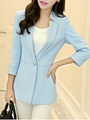 Single Button  Plain  Three-Quarter Sleeve Blazers