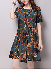 Tribal Printed Round Neck Pocket Shift Dress