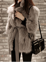 Lapel Plain Pocket Belt Faux Fur Coat