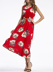 Swing Round Neck  Belt  Floral Printed Maxi Dress