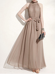 Crew Neck  Belt  Plain Maxi Dress