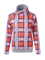 Drawstring  Plaid  Long Sleeve Hoodies