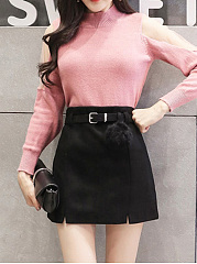 Solid Belt Woolen A-Line Mini Skirt
