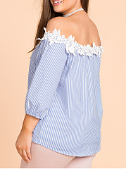 Open Shoulder  Ruffle Trim  Vertical Striped  Three-Quarter Sleeve Plus Size Blouse