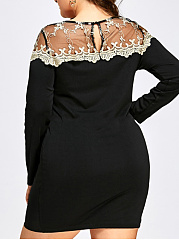 Round Neck  Decorative Lace Patchwork  Hollow Out Plus Size Bodycon Dress