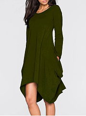 Round Neck  Slit Pocket  Plain Skater Dress