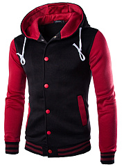 Men Hooded Color Block Single Breasted Pocket Coat
