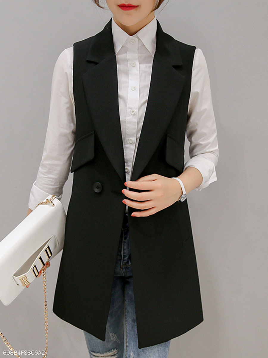 Notch Lapel  Slit Pocket  Plain  Sleeveless Blazers