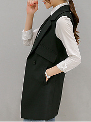 Notch Lapel Pocket Longline Plain Sleeveless Blazer