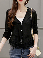 Collarless  Decorative Lace  Plain  Long Sleeve Cardigans