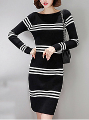 Boat Neck Striped Knitted Bodycon Dress