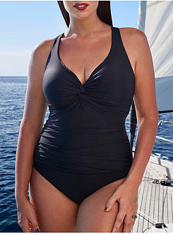 V-Neck  Backless  Plain Plus Size One Piece