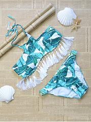 Halter-Tassel-Printed-Bikini