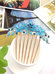 Blue Floral Shape Hair Comb