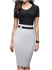 V-Neck  Slit  Decorative Hardware  Color Block Colouring Bodycon Dress