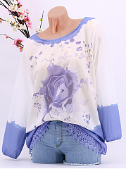 Spring Summer  Chiffon  Round Neck  Decorative Lace  Floral  Long Sleeve Blouse