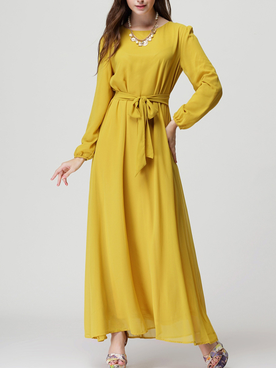 Round Neck Bowknot Plain Chiffon Maxi Dress
