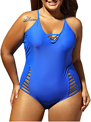Hollow Out Solid Color Plus Size One Piece
