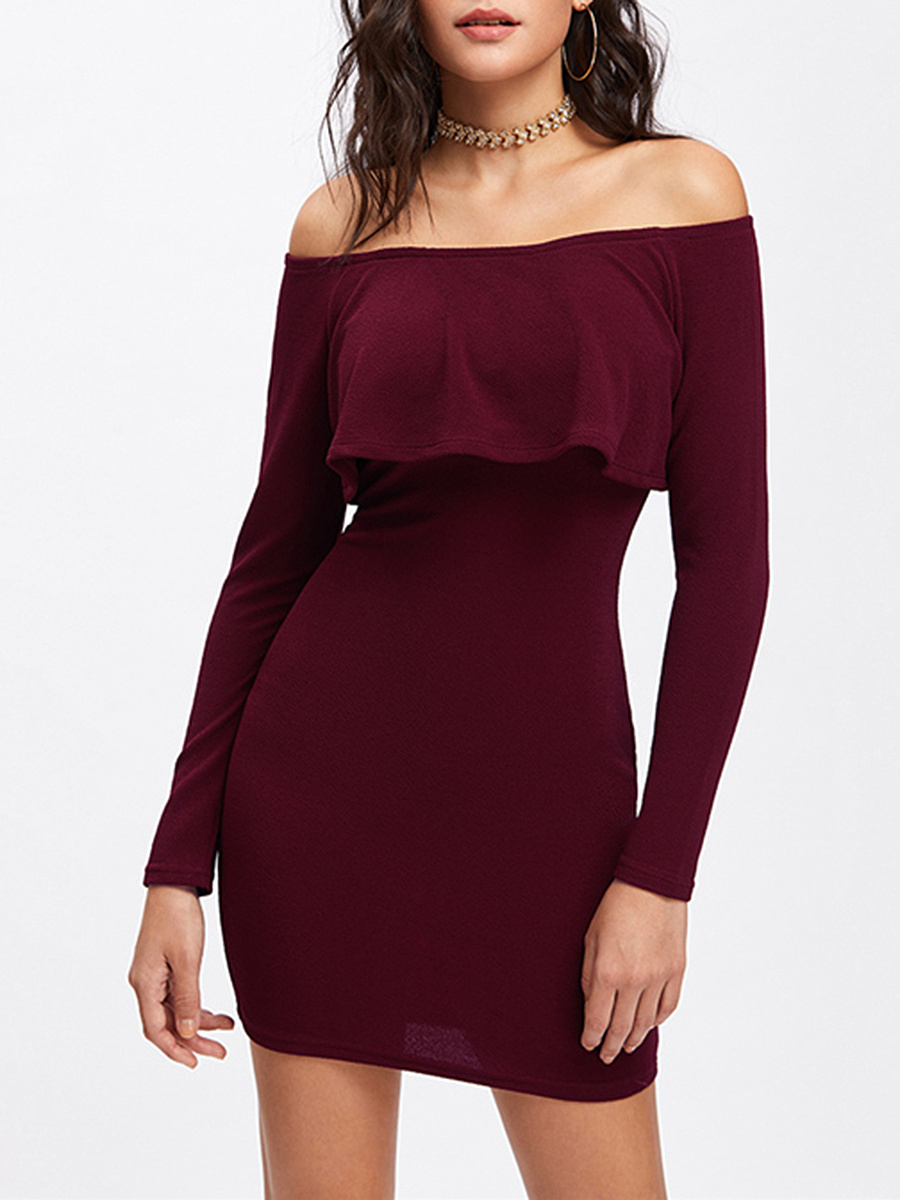 Off Shoulder Flounce Plain Mini Bodycon Dress