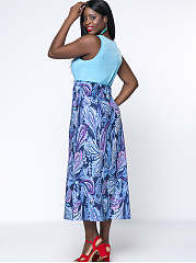 Casual Round Neck Plus Size Maxi Dress In Paisley Printed