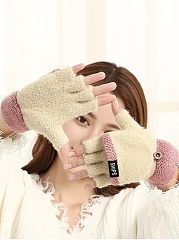 Cute Soft Thick Woolen Color Block Knitted Gloves