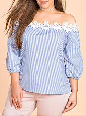 Off Shoulder  Striped  Half Sleeve Plus Size Blouses