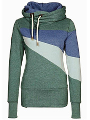 Cowl Neck Color Block Drawstring Hoodie