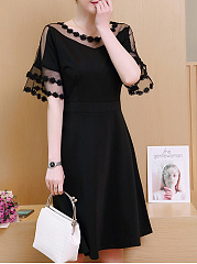 Asymmetric Neck  Decorative Lace  Plain Plus Size Midi & Maxi Dress