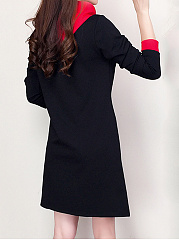 Hooded  Color Block Shift Dress