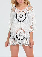 Round Neck  See-Through  Crochet  Plain Tunic