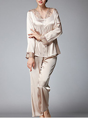V-Neck Decorative Lace Pajama Set