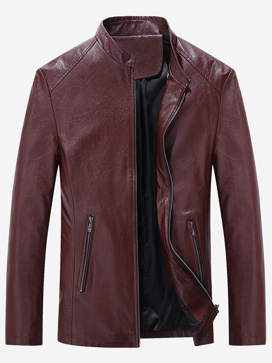 Band Collar  Zips  Plain Men Jacket