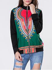 Band-Collar-Pocket-Tribal-Printed-Jacket