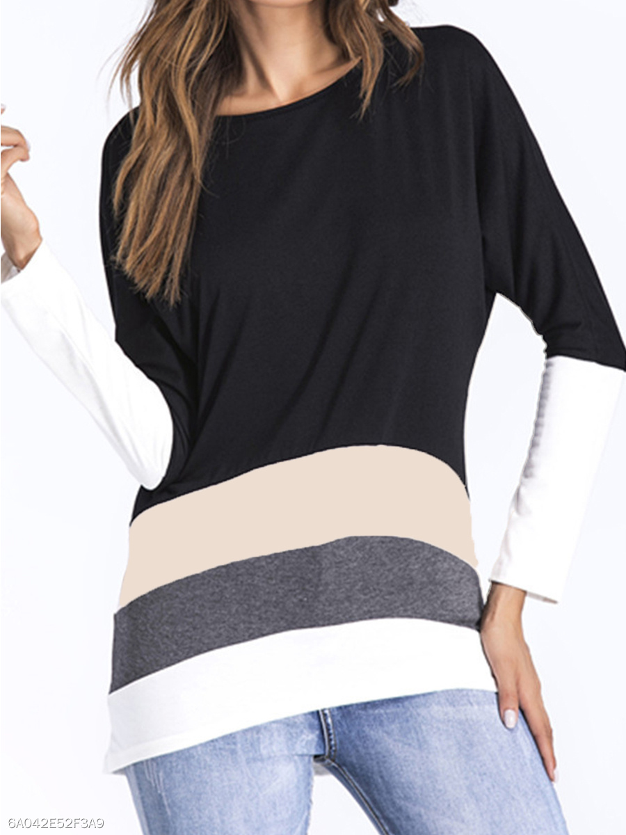 Round Neck  Patchwork  Stripes  Batwing Sleeve Long Sleeve T-Shirts