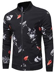 Band-Collar-Men-Pocket-Floral-Printed-Jacket