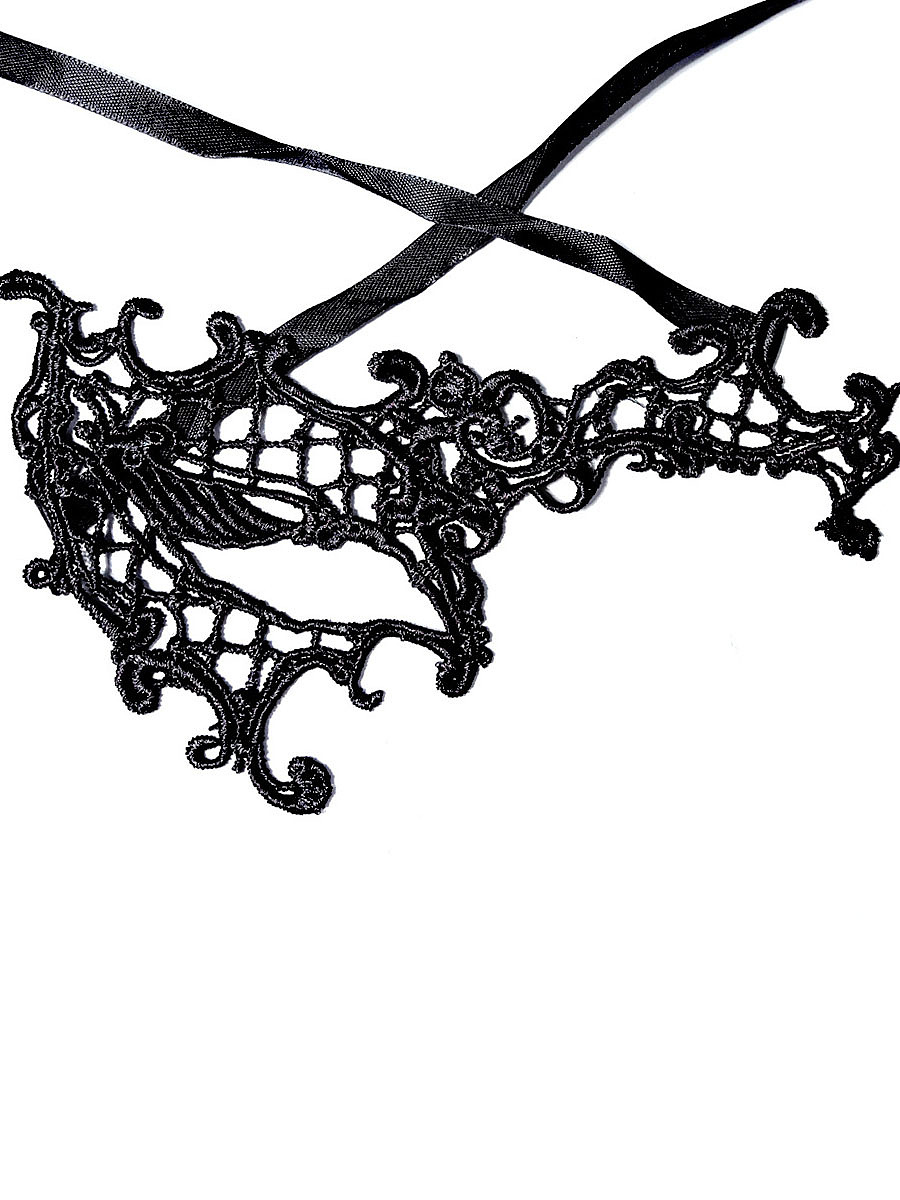 Asymmetric Design Black Lace Mask