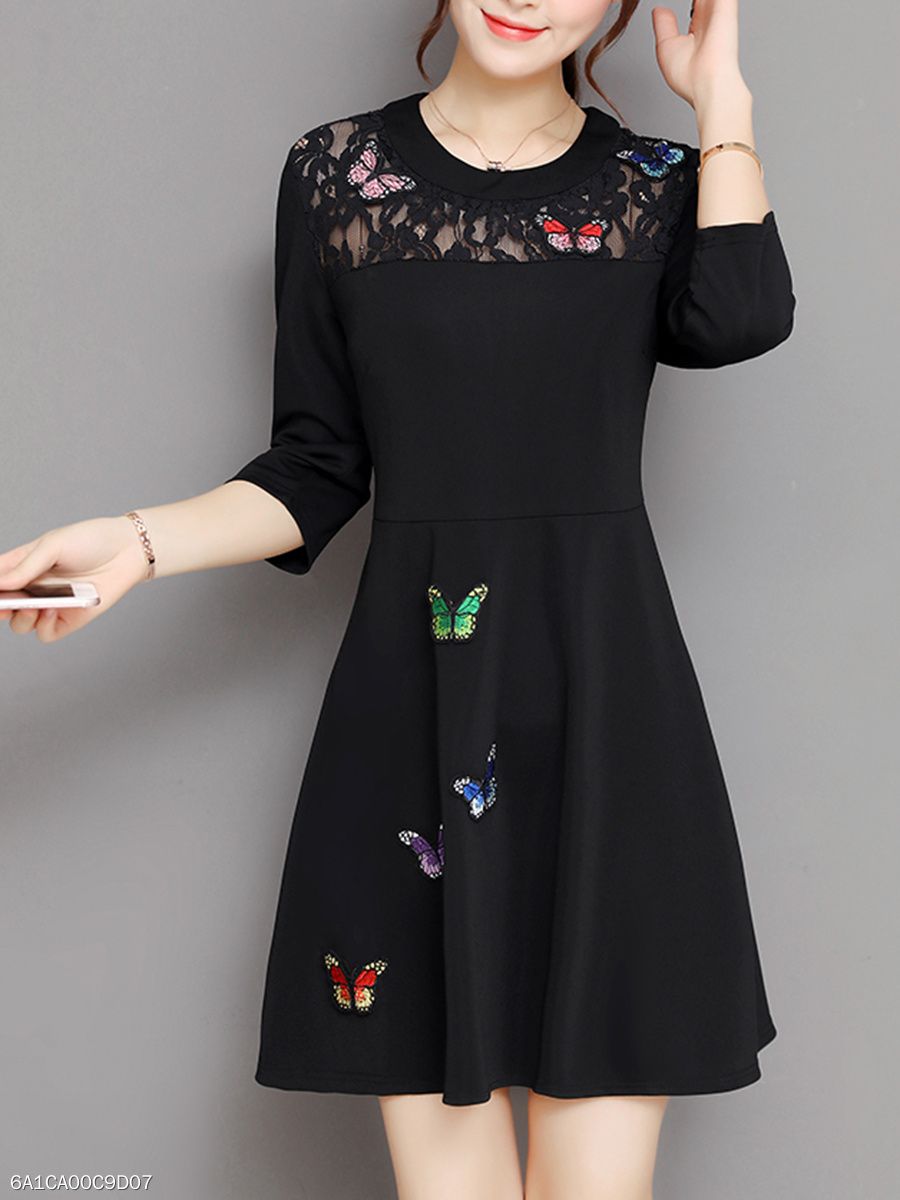 Butterfly Applique Hollow Out Skater Dress