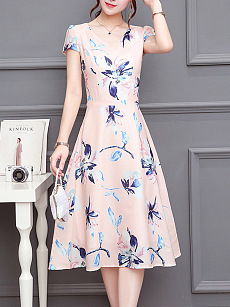 V-Neck Short Sleeve Floral Printed Skater Dress