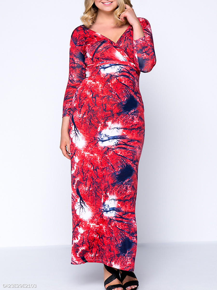 Deep V-Neck Dramatic Printed Plus Size Maxi Dress