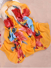 Flowers Blooming Chiffon Scarf