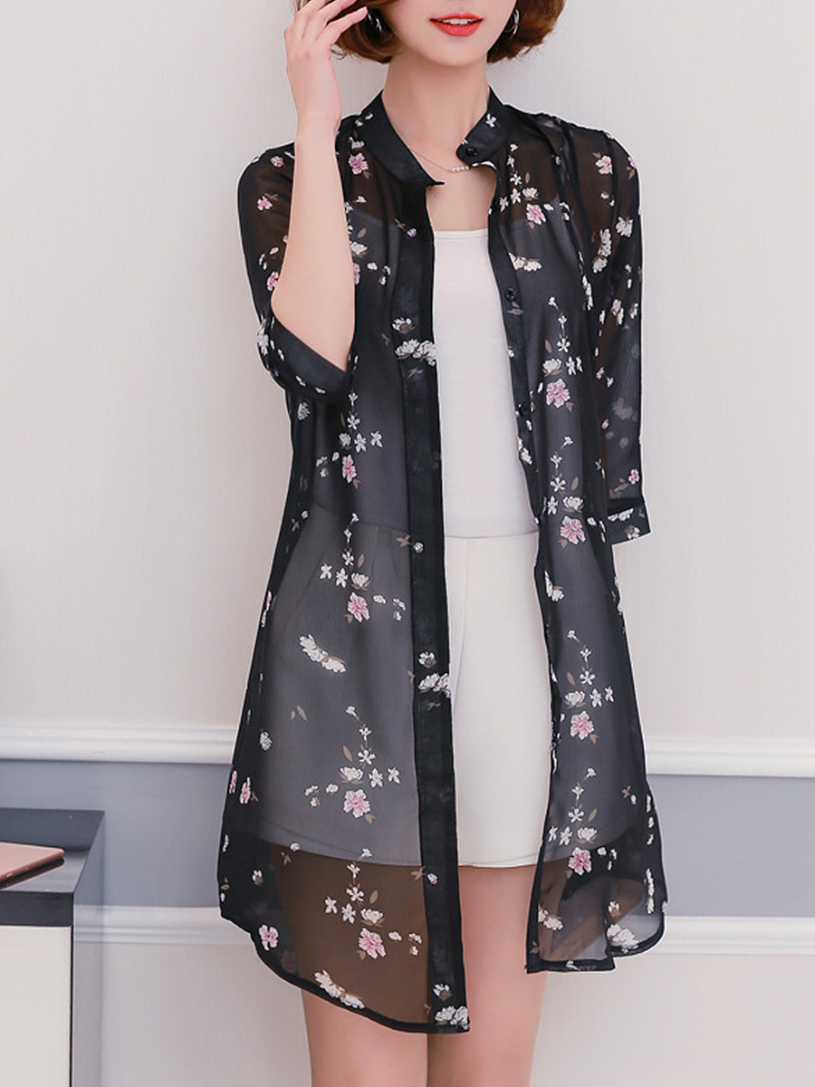 Single Breasted Snap Front Floral Printed Kimono