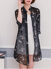 Single-Breasted-Snap-Front-Floral-Printed-Kimono
