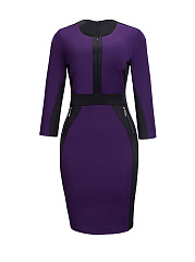 Round Neck Color Block Zips Bodycon Dress