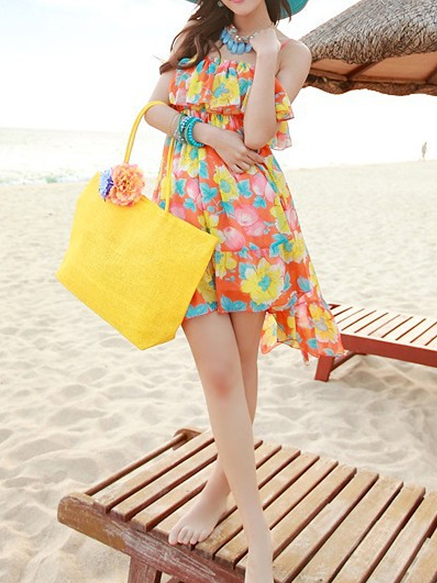 Boho Straw Large Capacity Beach Bag Without Accessories