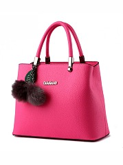 Candy Color Fur Ball Basic Shoulder Bag