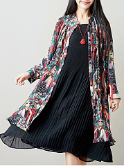 Band Collar  Belt  Polyester Maxi Dress