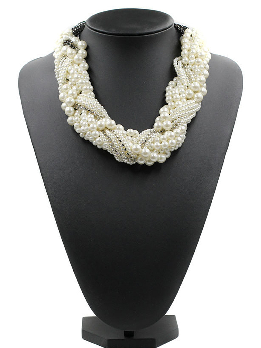 White Faux Pearl Beaded Necklace